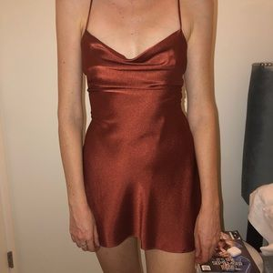silk open back lace up dress